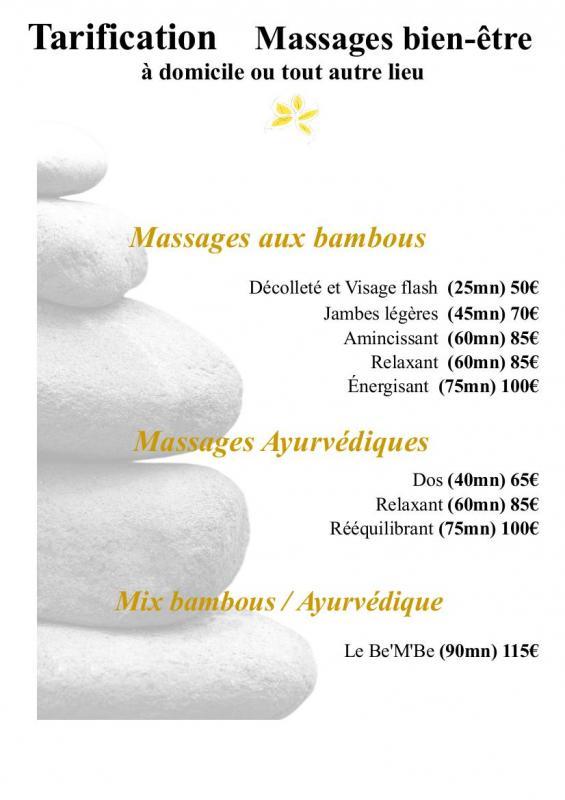 Tarification massage bien etre2
